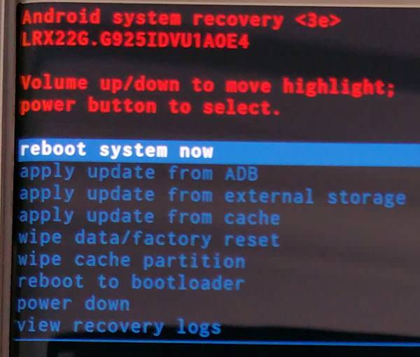 Recovery mode of Galaxy S6